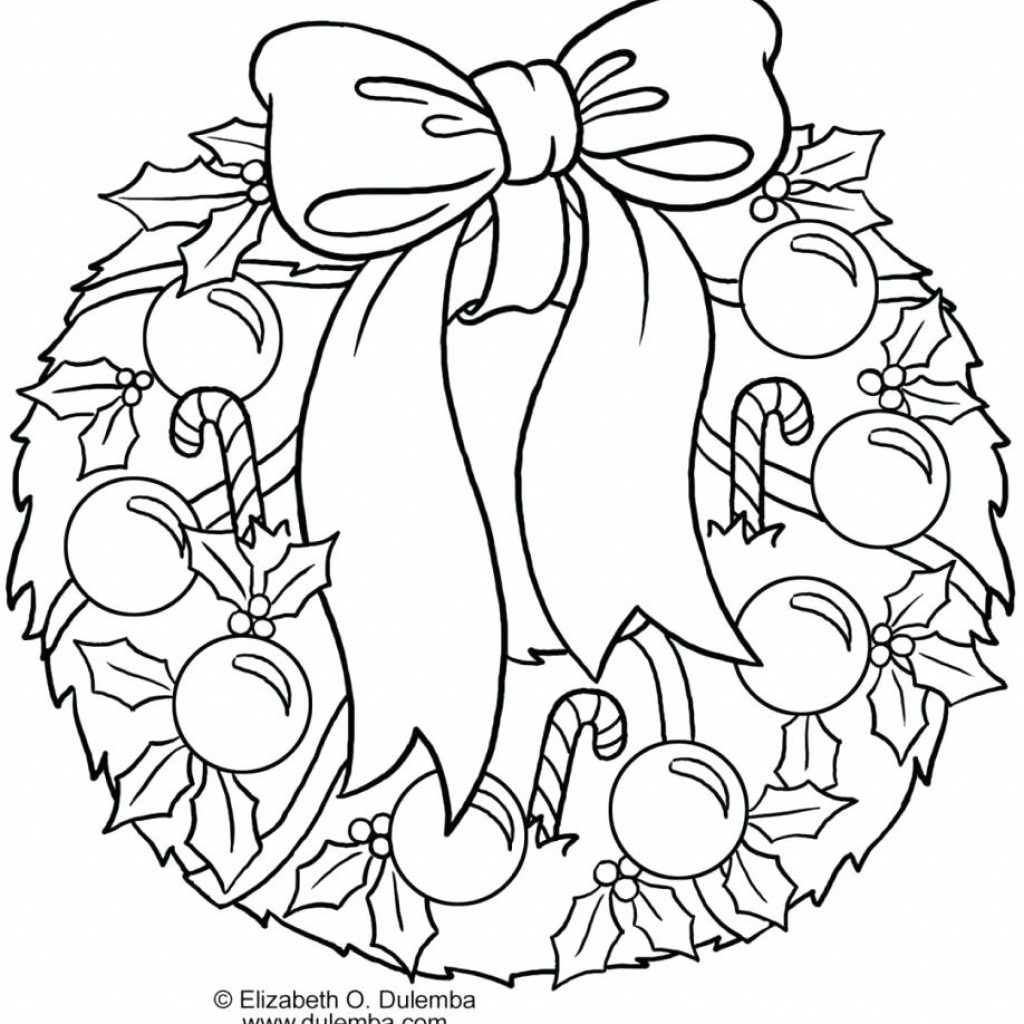 Christmas Wreath Coloring Pages With Winter Day For Kids Printable Free Thread