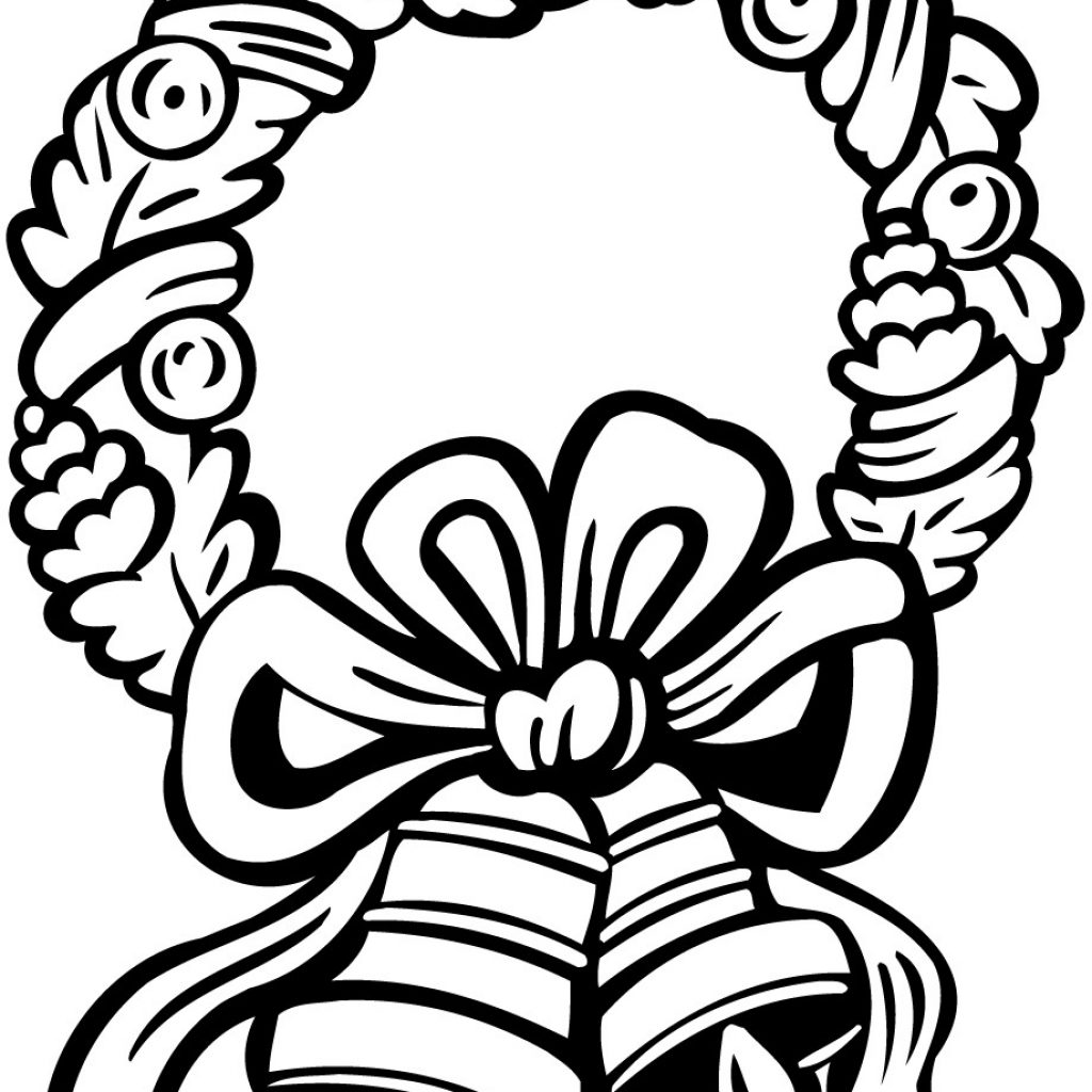 Christmas Wreath Coloring Pages With Wreaths Jingle Bells Page 6