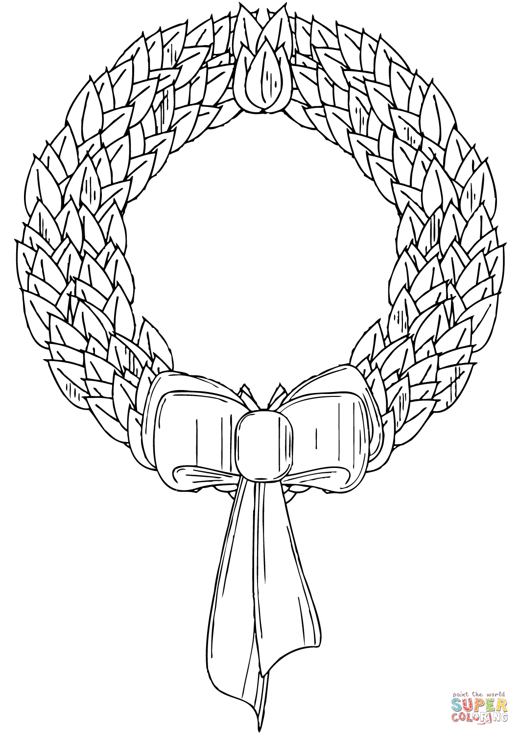 Christmas Wreath Coloring Sheet With Page Free Printable Pages