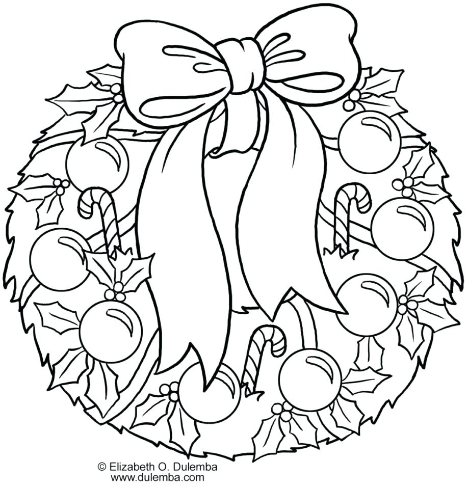 Christmas Wreath Coloring Sheet With Page Free Printable Pages Throughout Gamz Me