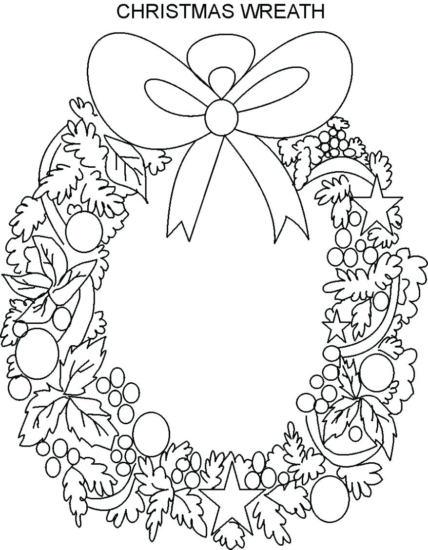 Christmas Wreath Coloring Sheet With Pages Gamz Me