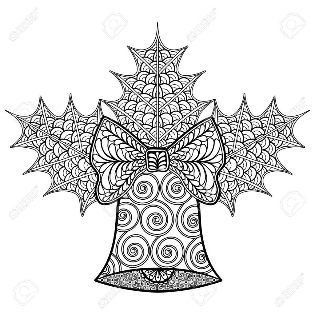 Christmas Zentangle Coloring Pages With Decorative Bell And Mistletoe