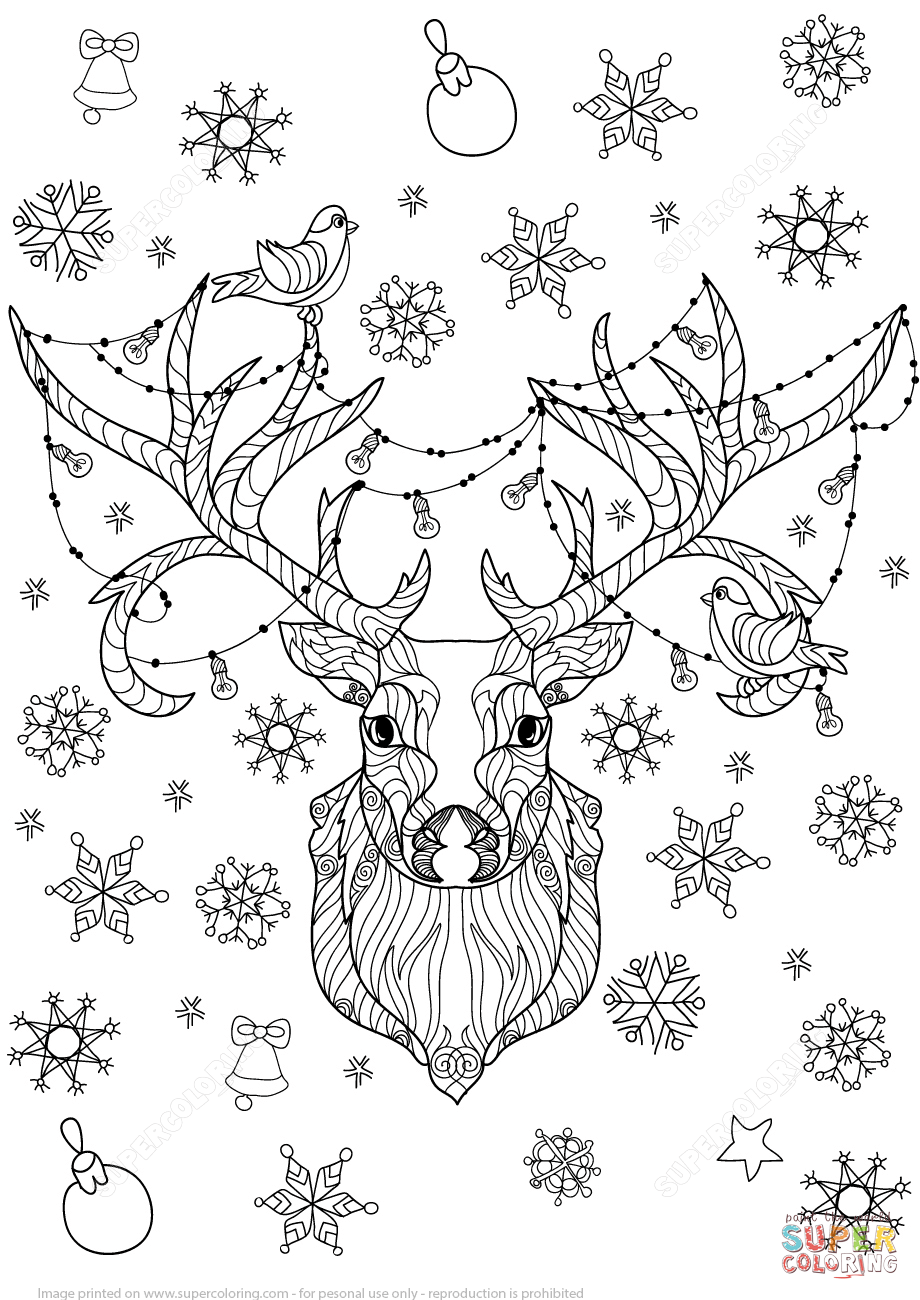 Christmas Zentangle Coloring Pages With Deer Light Bulbs Garland Page From