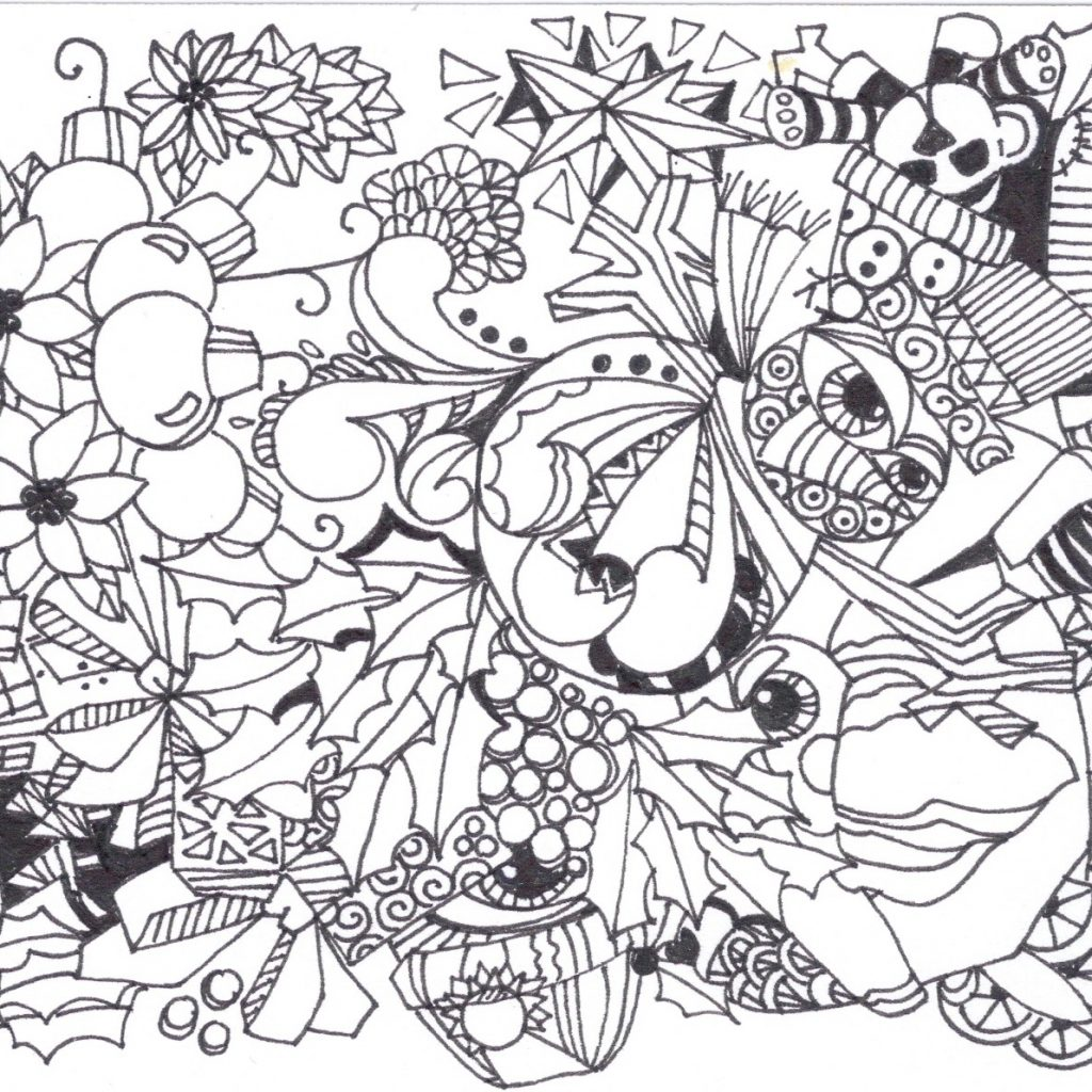 Christmas Zentangle Coloring Pages With Hard Gallery Free Books