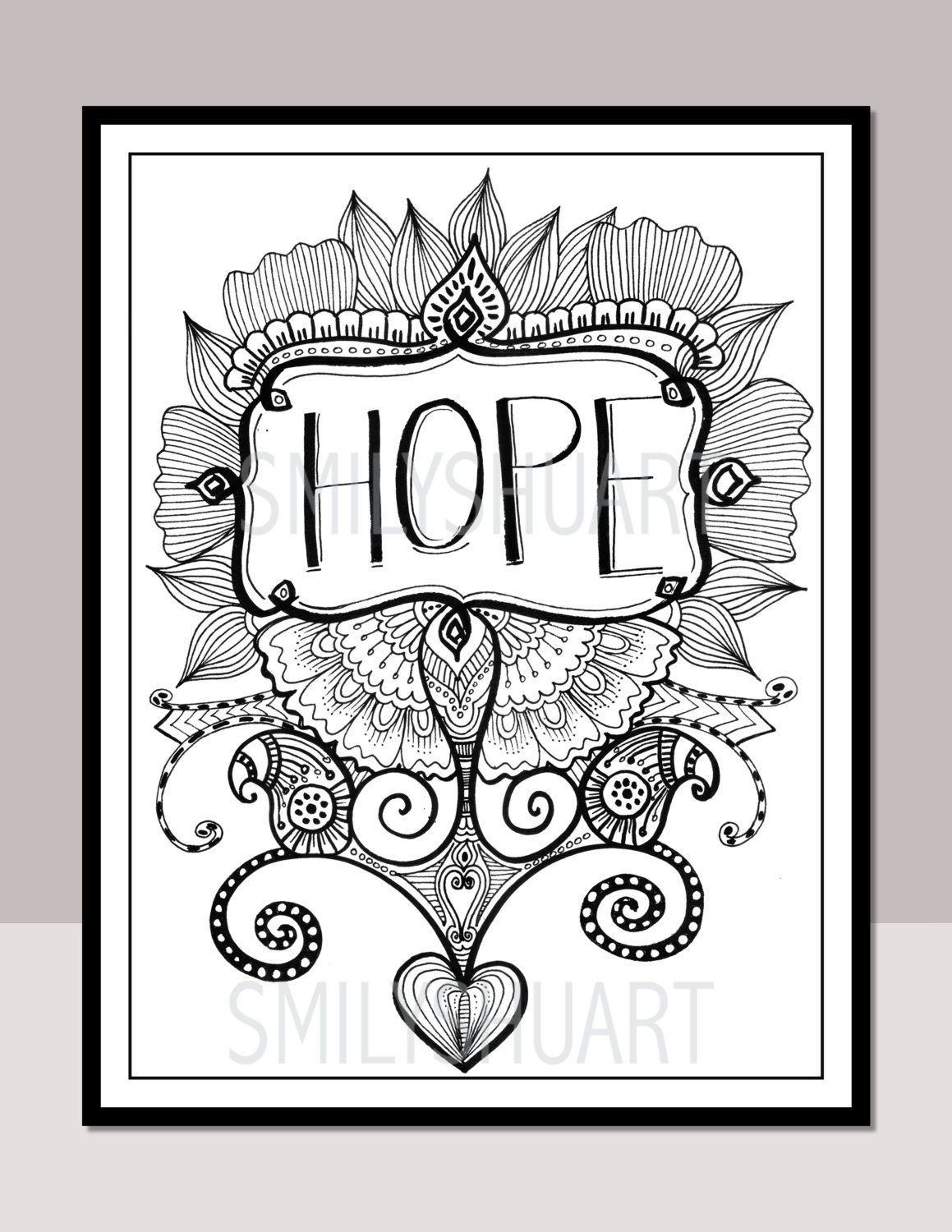 Christmas Zentangle Coloring Pages With HOPE Printable Motivational Quotes Etsy