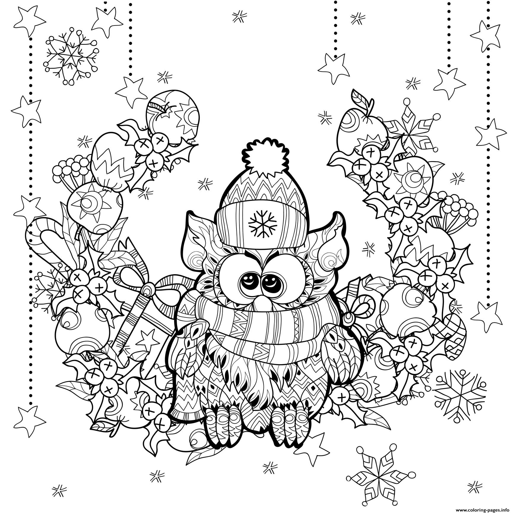 Christmas Zentangle Coloring Pages With Owl By Irina Yazeva Printable