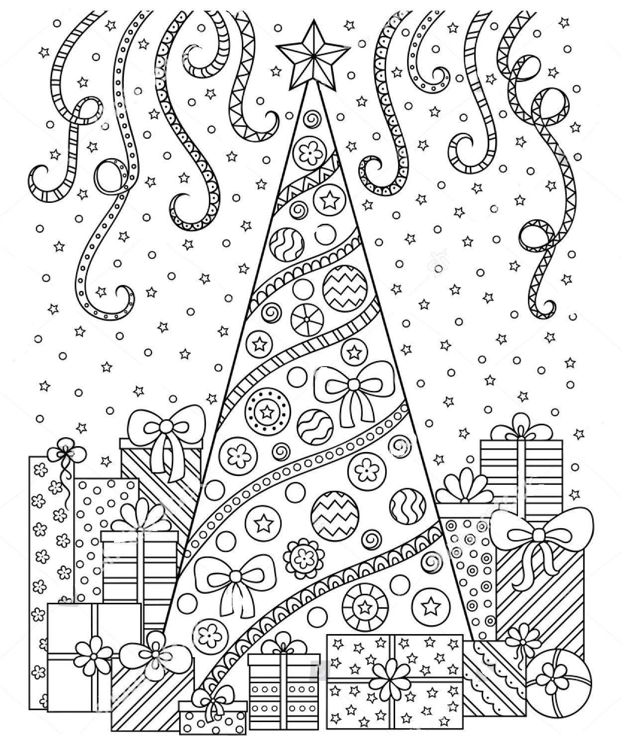 Christmas Zentangle Coloring Pages With Page Pinterest