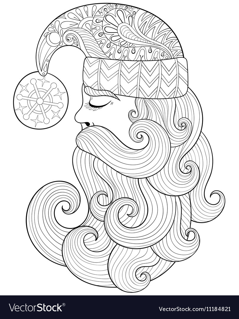 Christmas Zentangle Coloring Pages With Santa Claus For Adult Vector Image