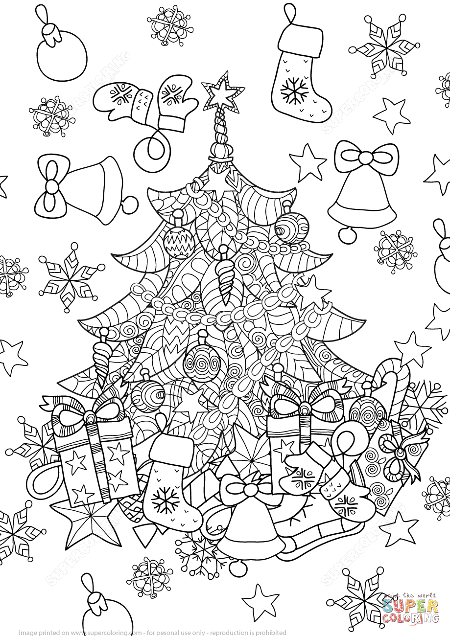 Christmas Zentangle Coloring Pages With Tree Super Pinterest