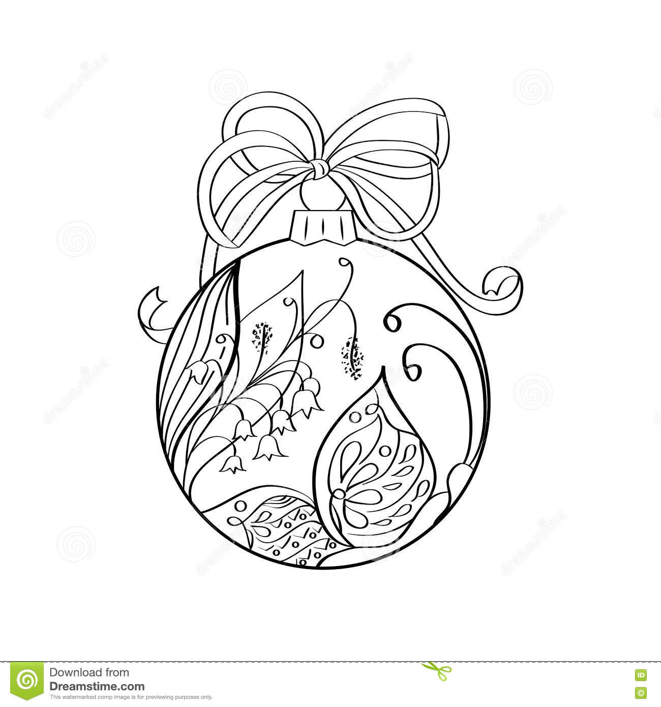 Christmas Zentangle Coloring Pages With Vector Ball Summer Ornament Inside Butterfly And