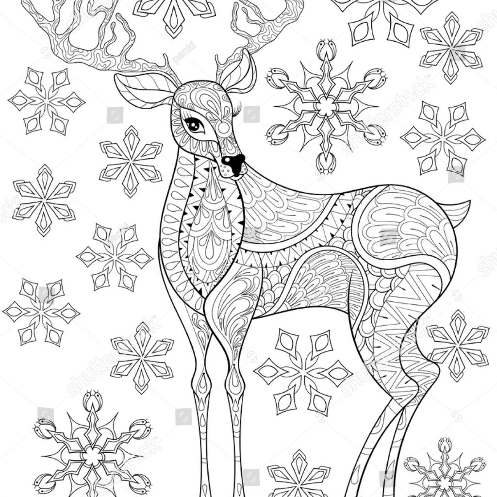 Christmas Zentangle Coloring Pages With Vector Reindeer On Snowflakes Stock