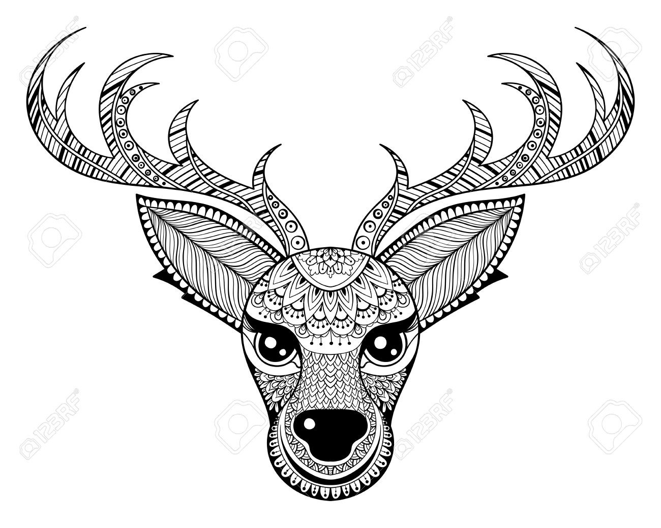 Christmas Zentangle Coloring With 51457103 Vector Reindeer For Adult Anti Stress