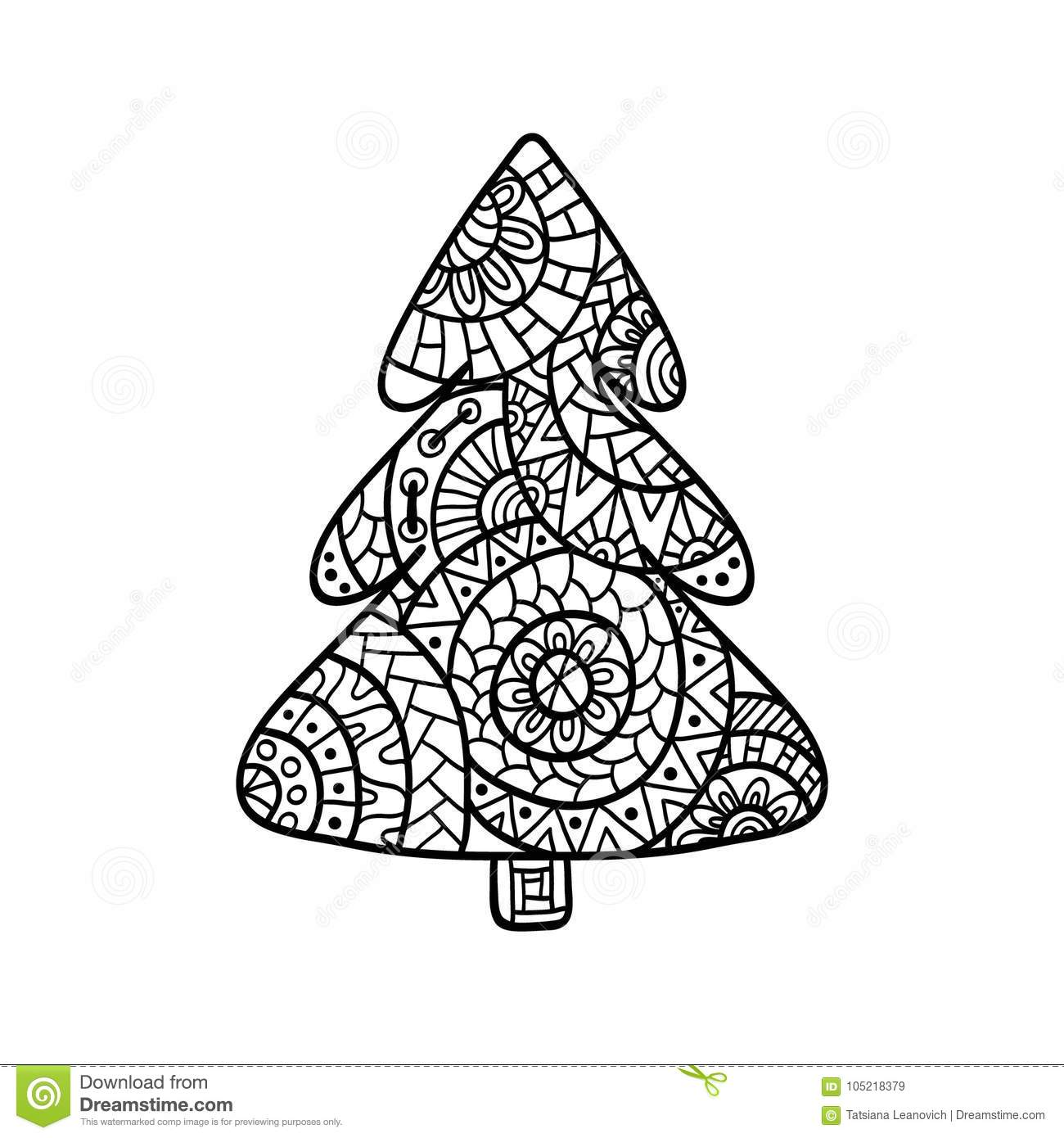 Christmas Zentangle Coloring With Card In Style For Adult Anti Stress Stock