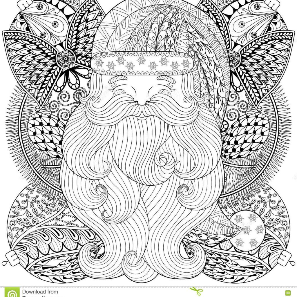 Christmas Zentangle Coloring With Fancy Santa On Balls Wreath In Style Stock