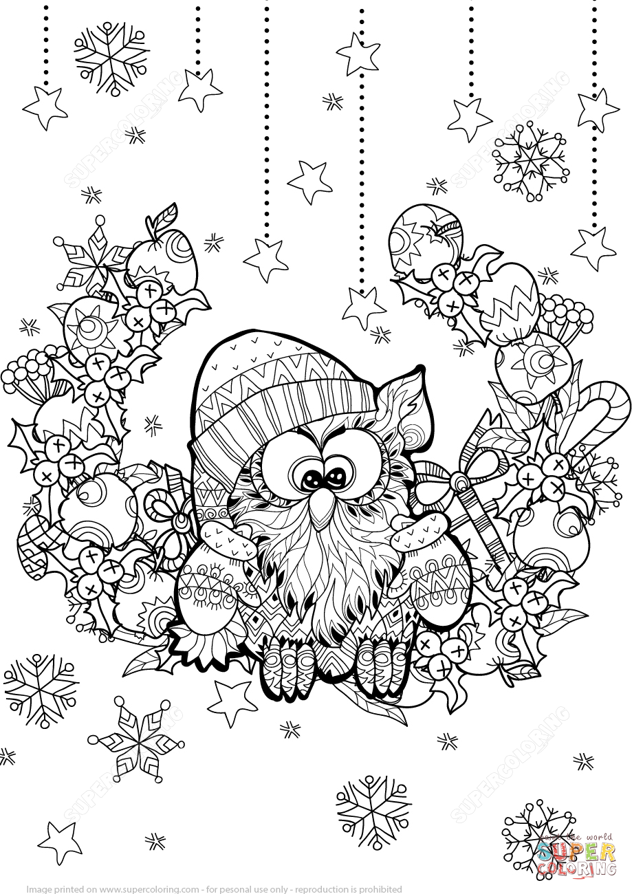 Christmas Zentangle Coloring With Owl Page Free Printable Pages