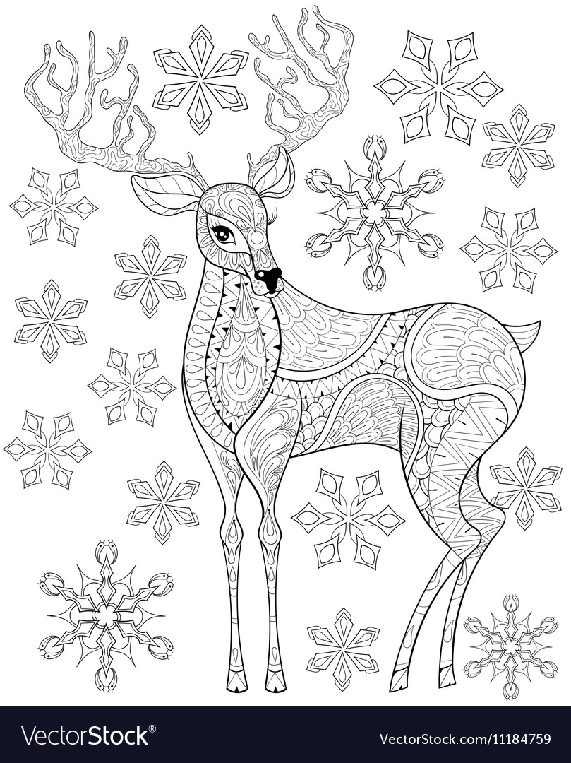 Christmas Zentangle Coloring With Reindeer On Snowflakes For Vector Image