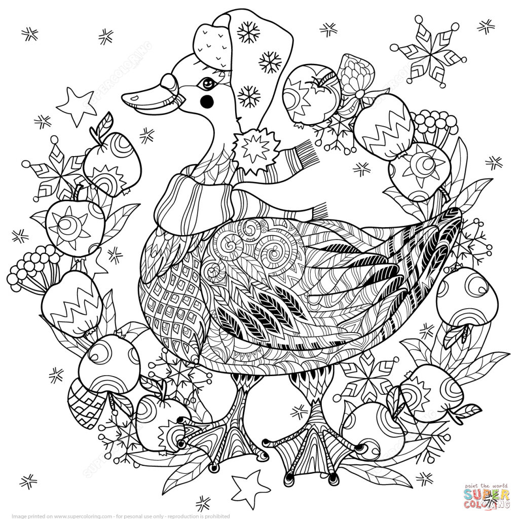 Christmas Zentangle Coloring With Tree Page Free Printable Pages