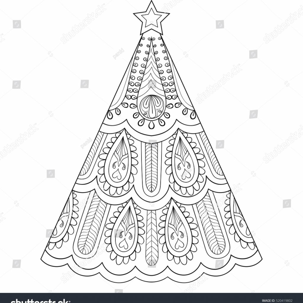 Christmas Zentangle Coloring With Vector Tree Ornamental Hand Stock