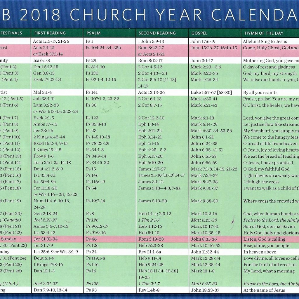 Church Year Calendar 2019 With 2018 MAY NOV St Paul S Evangelical Lutheran