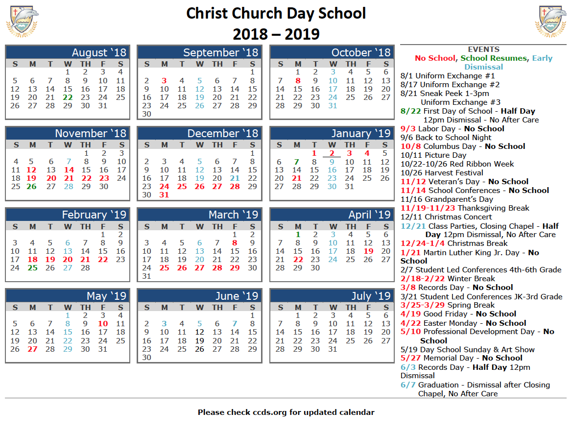 Church Year Calendar 2019 With 2018 School CCDS