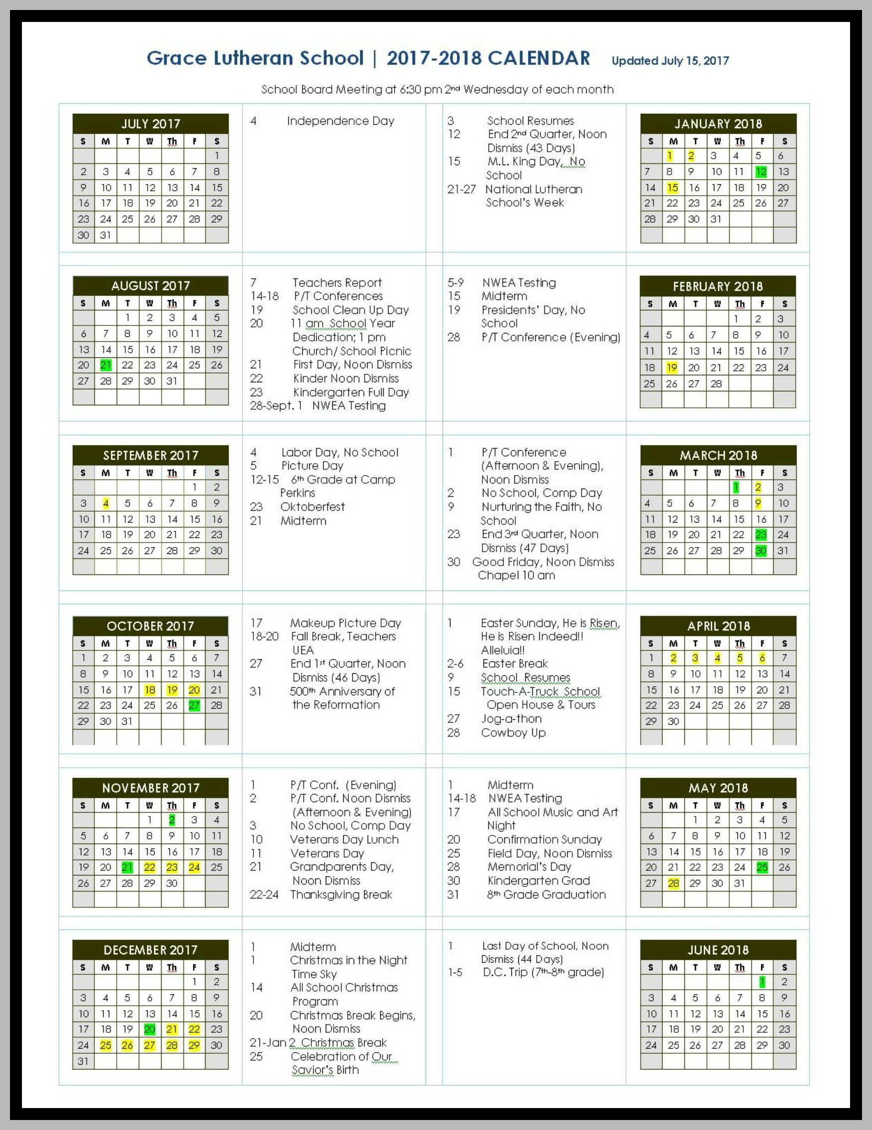 Church Year Calendar 2019 With Grace Lutheran And School