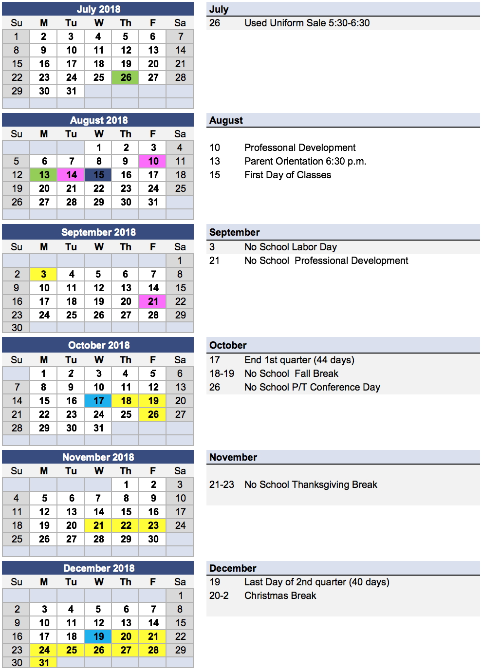 Church Year Calendar 2019 With Messiah Lutheran Next School