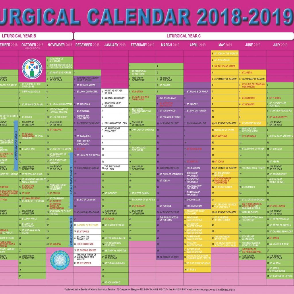 Church Year Calendar 2019 With Scottish Catholic Education Service SCES Liturgical