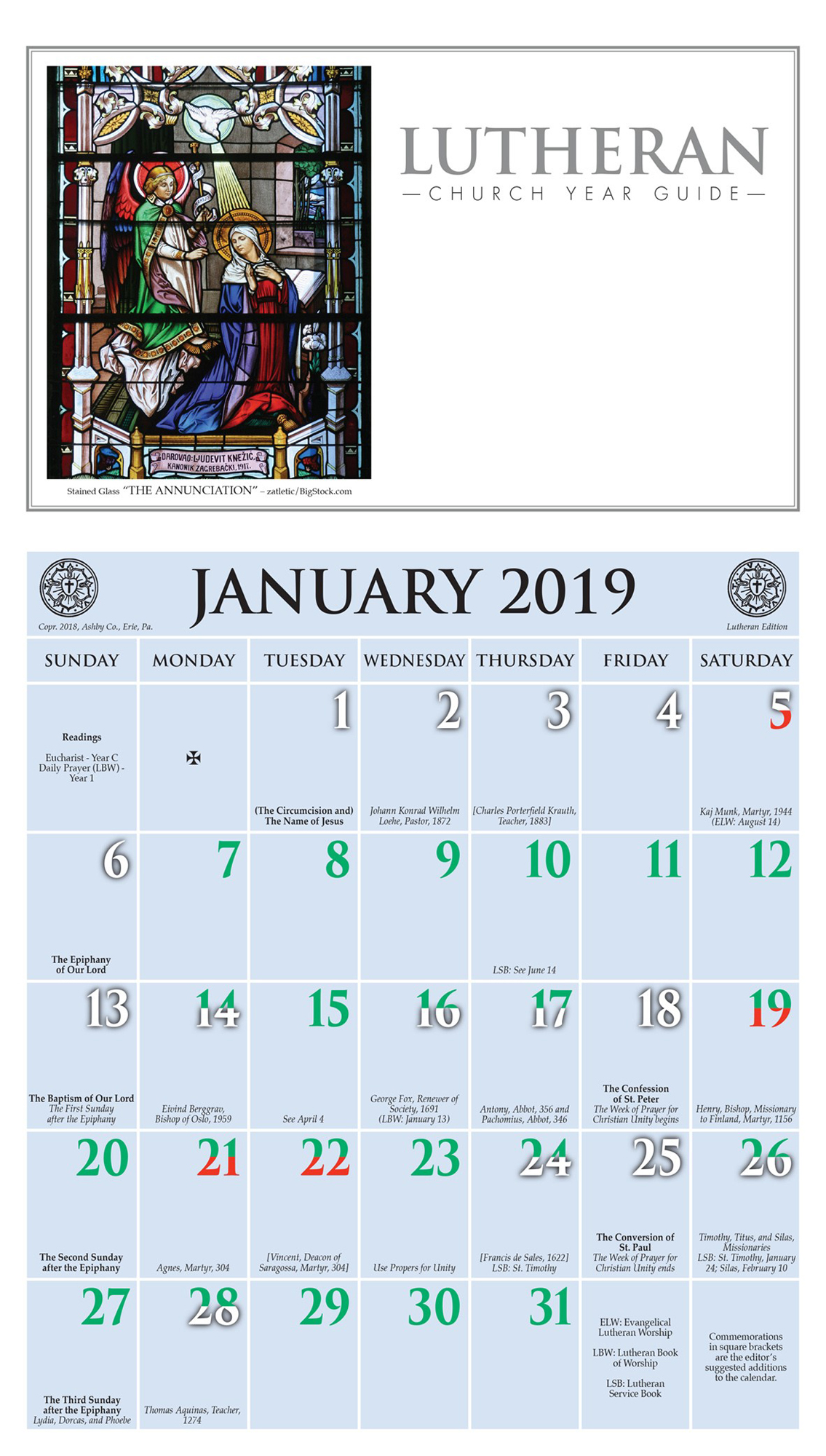 Church Year Calendar 2019 With