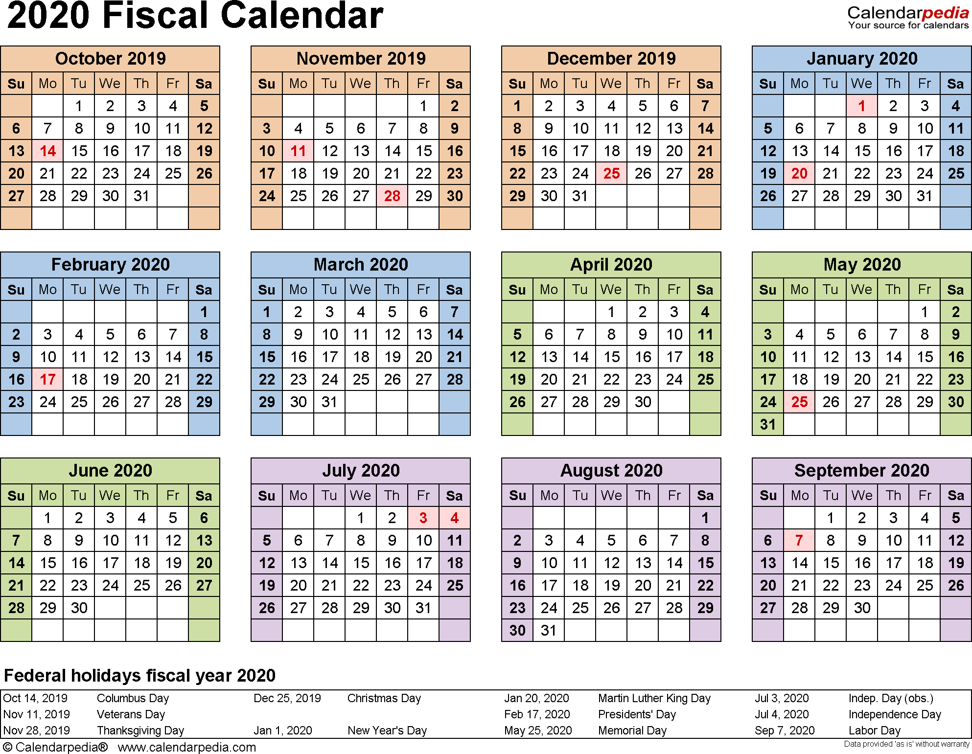 Cisco Fiscal Year Calendar 2019 With Calendars 2020 As Free Printable PDF Templates