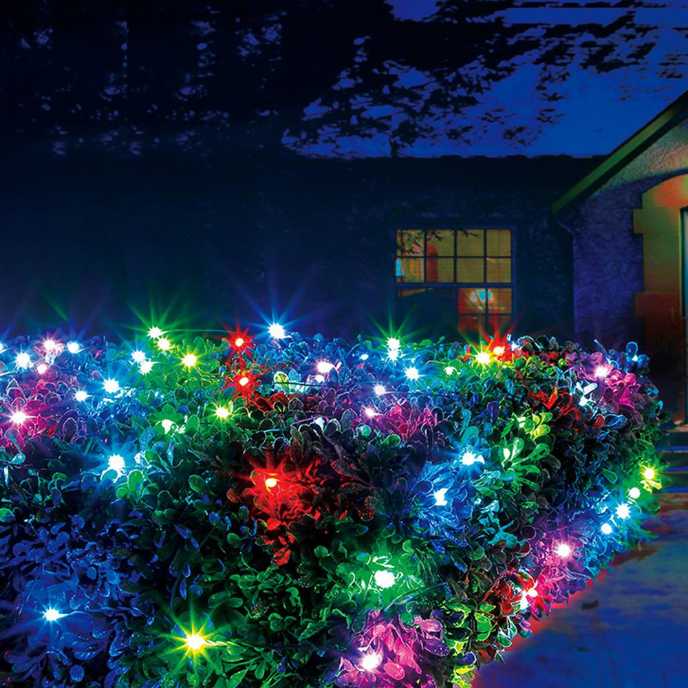 Colored Christmas Net Lights With Illuminations 48 In X 100 Light RGB LED Color Blast Remote