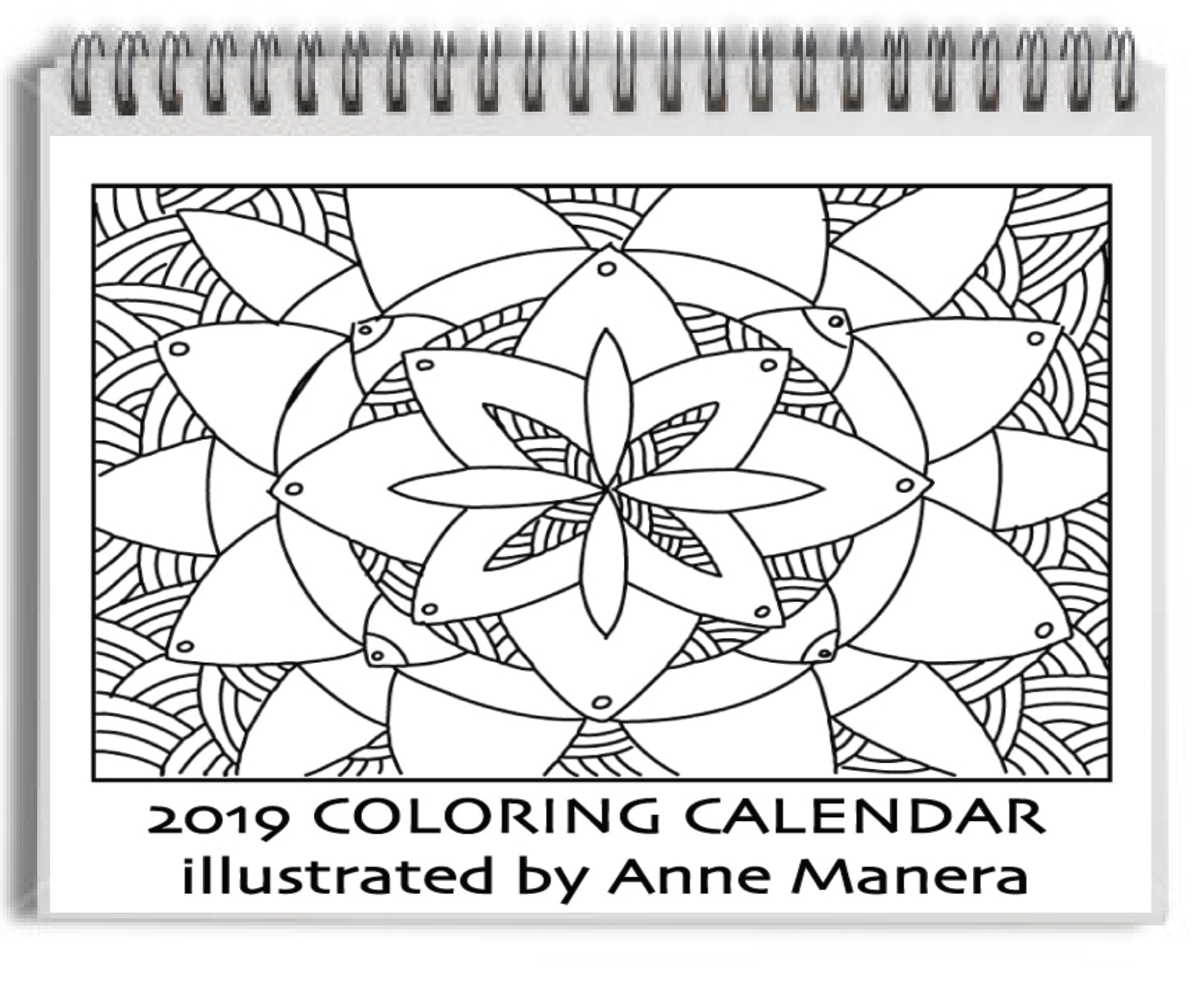 Coloring Calendar For Adults 2019 With 12 Months Illustrations By Anne Manera 8 5 X