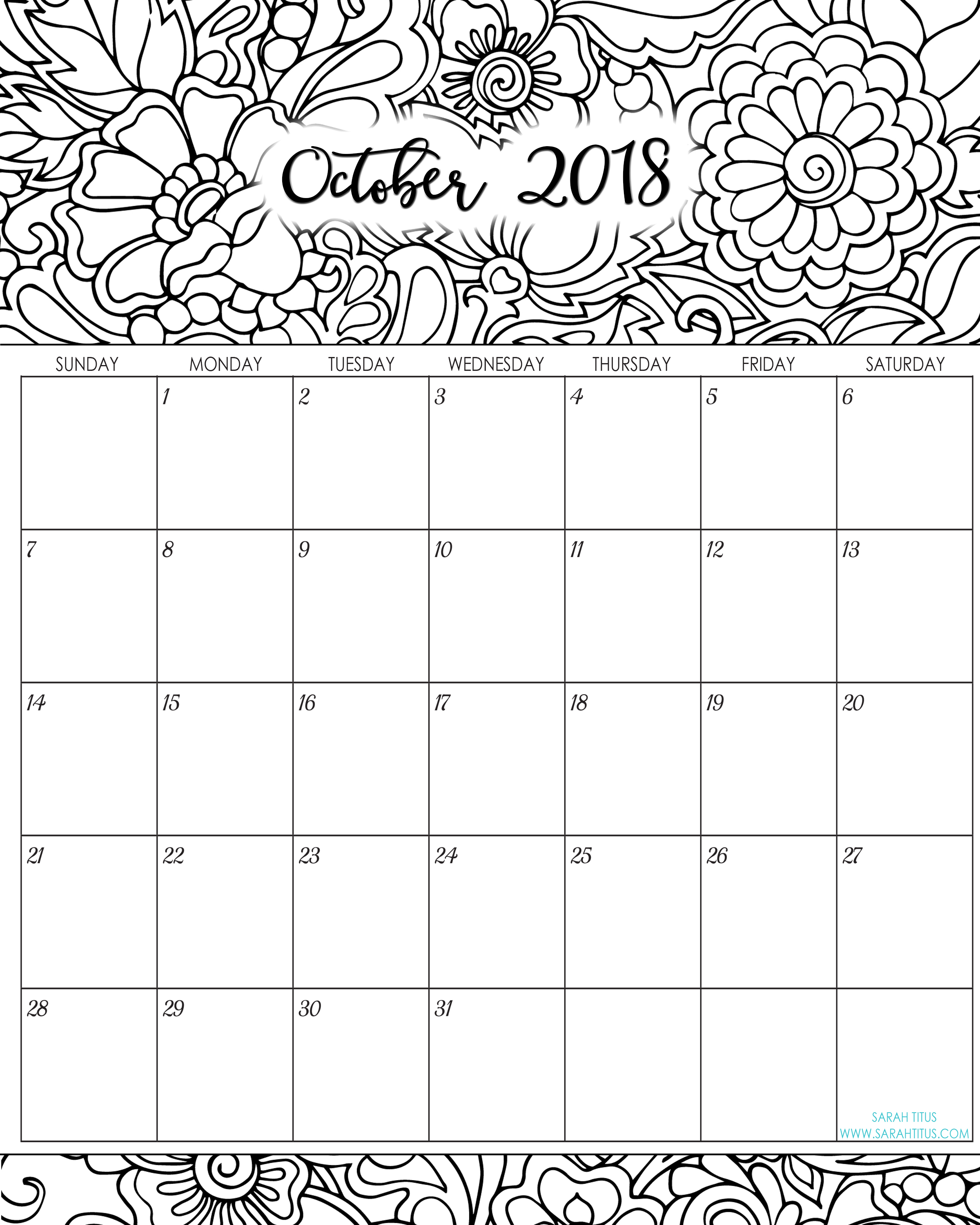 Coloring Calendar For Adults 2019 With 2018 Monthly Calendars Printables Sarah Titus