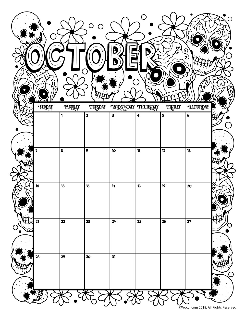 Coloring Calendar For Adults 2019 With Printable And 2018 Woo Jr Kids