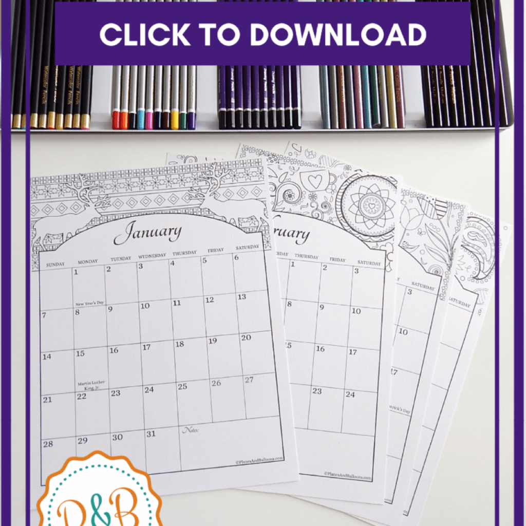 Coloring Calendar For Adults 2019 With US Holidays Included Free Download