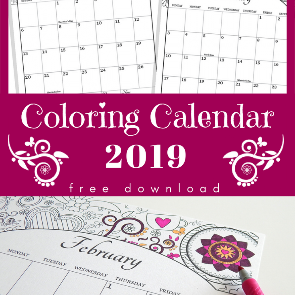 Coloring Calendar For Adults 2019 With US Holidays Included Free Download Planes