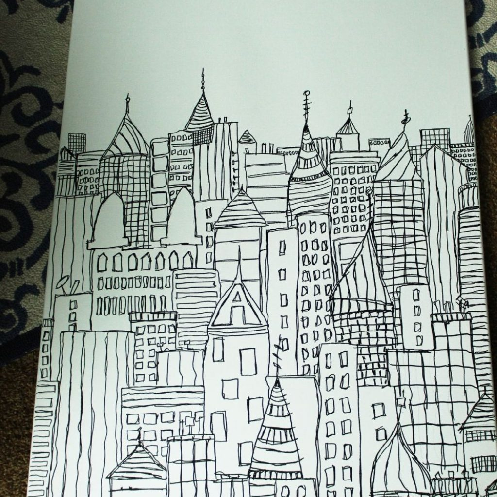 coloring-christmas-lights-with-sharpie-diy-art-cityscape-sketch-on-canvas