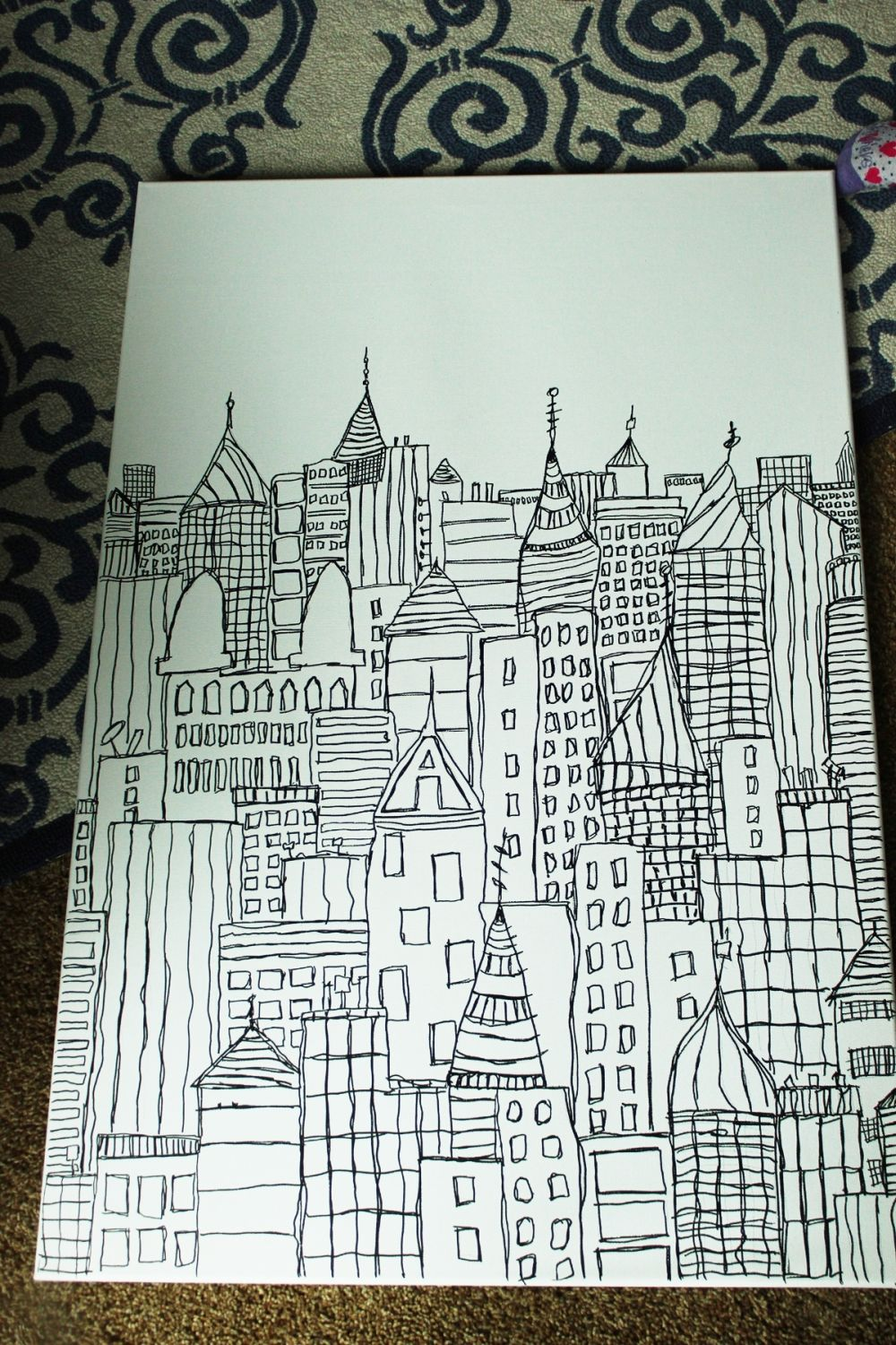 Coloring Christmas Lights With Sharpie DIY Art Cityscape Sketch On Canvas