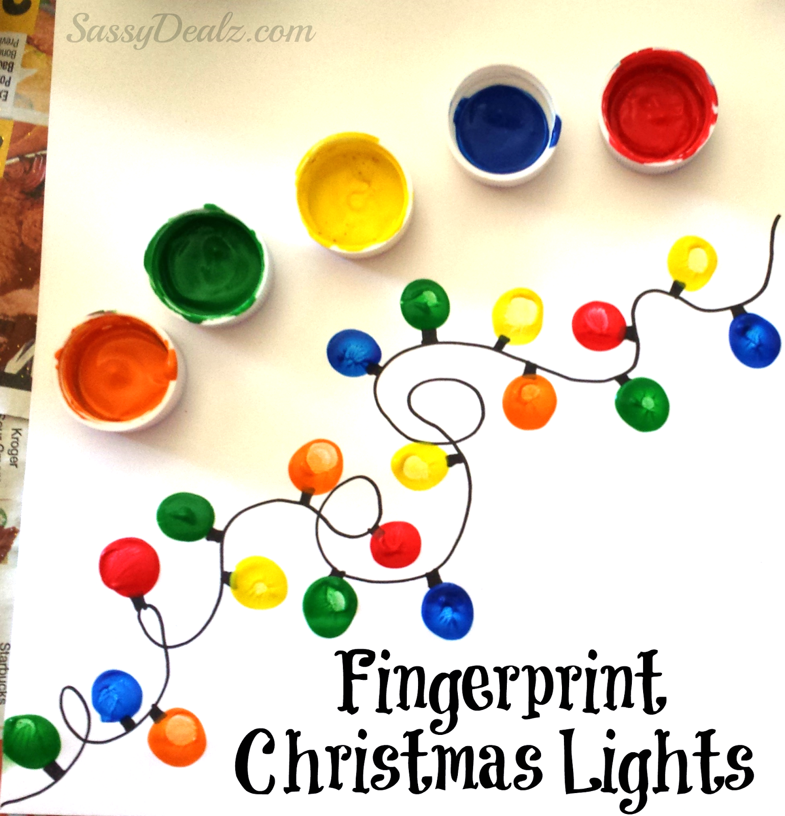 Coloring Christmas Lights With Sharpie Fingerprint Light Craft For Kids DIY Card Idea