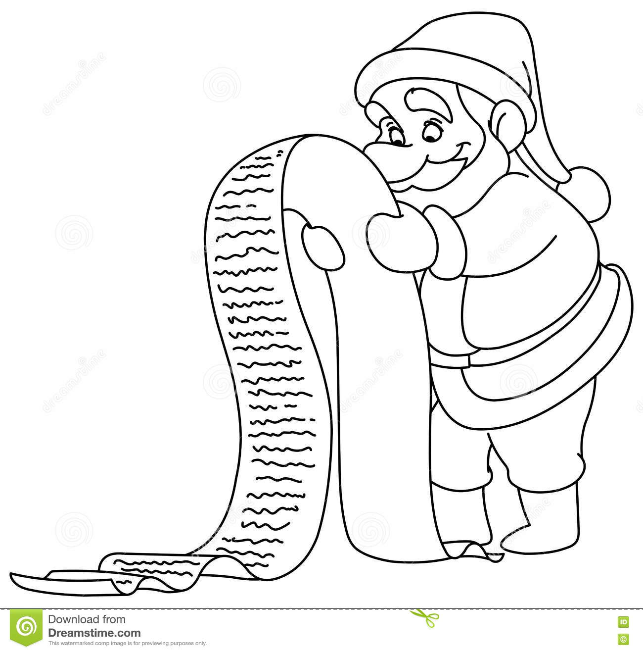Coloring Christmas List With Outlined Santa Stock Vector Illustration Of Looking