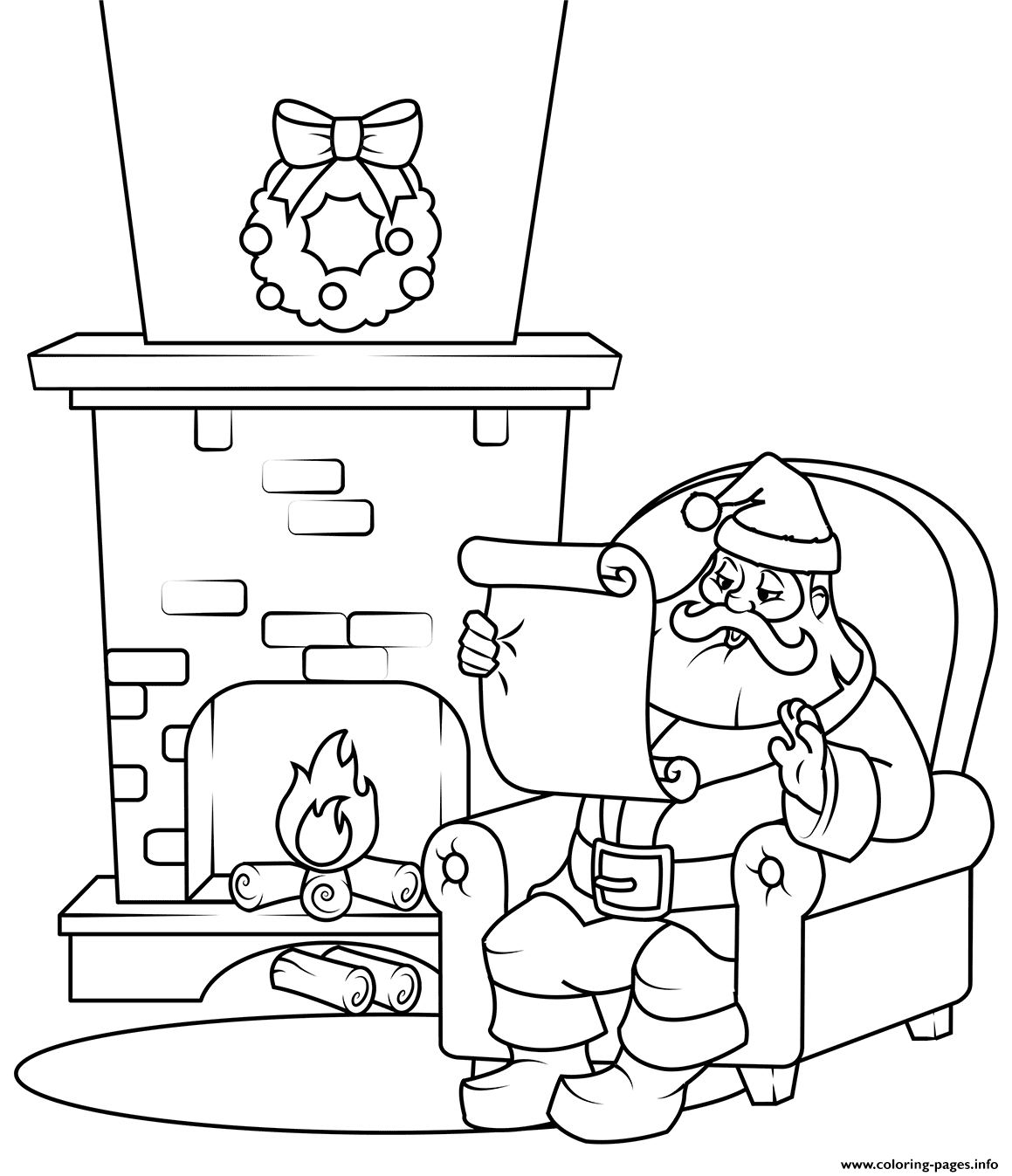 Coloring Christmas List With Santa Checking His Pages Printable