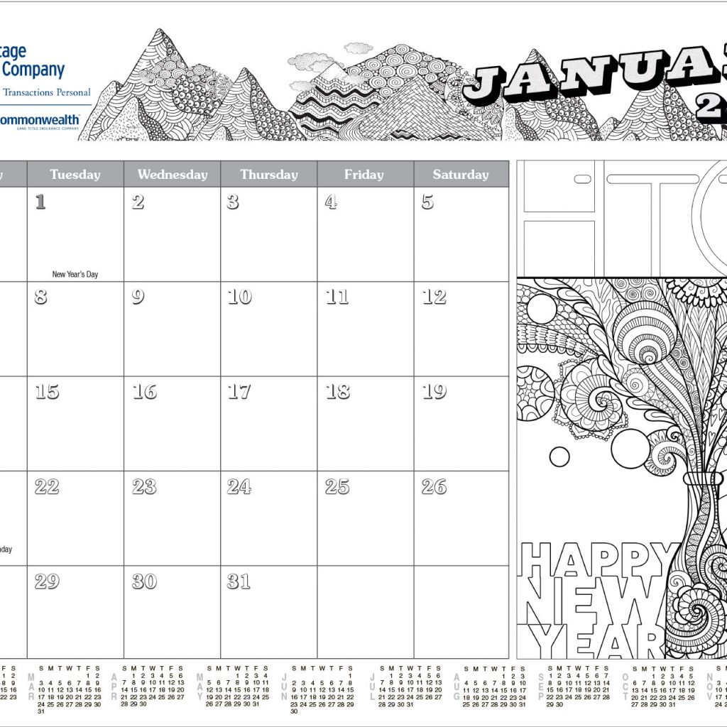 Coloring Desk Calendar 2019 With Adult Blotter Company
