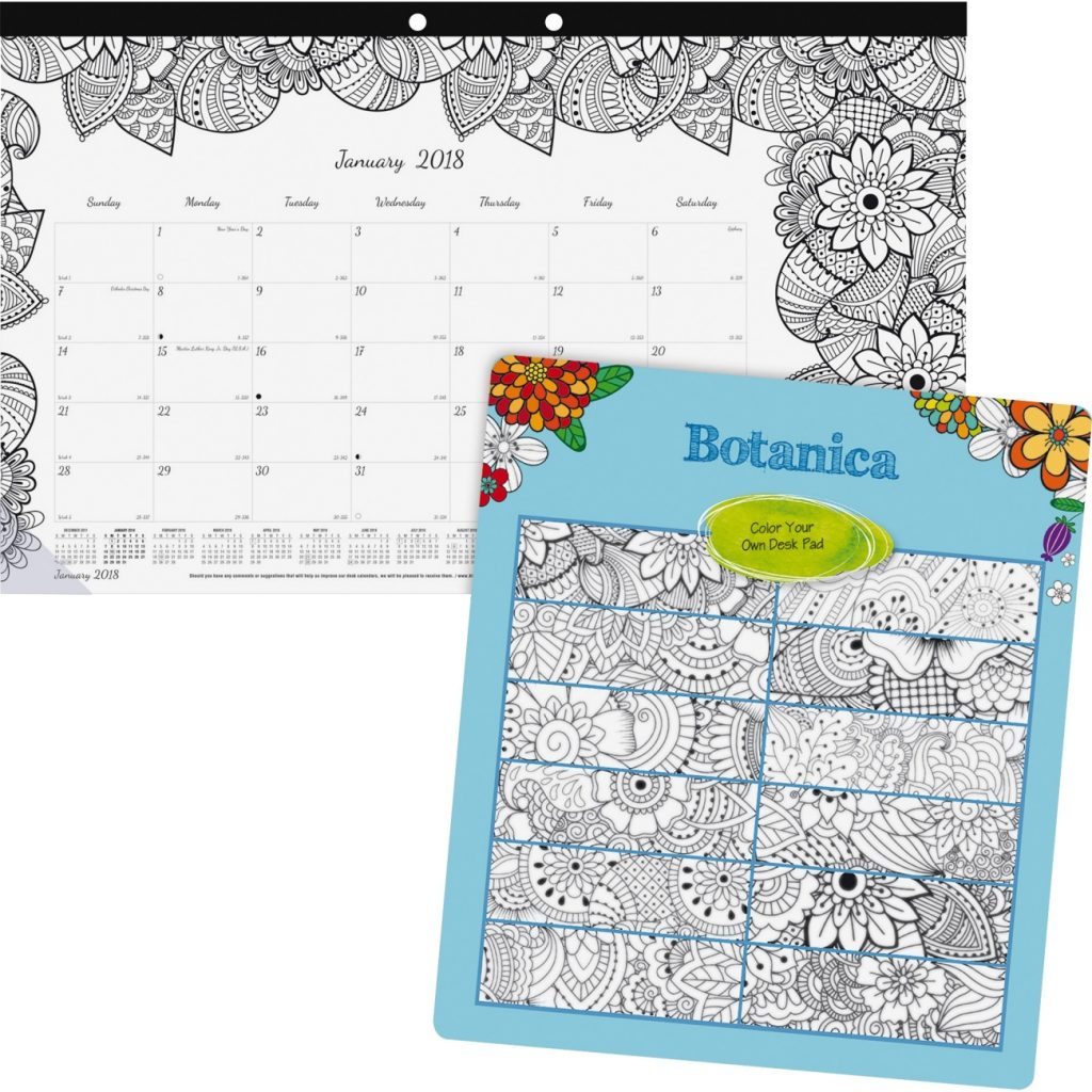 Coloring Desk Calendar 2019 With Blueline DoodlePlan W Pages 17 3 4 X 10 7 8