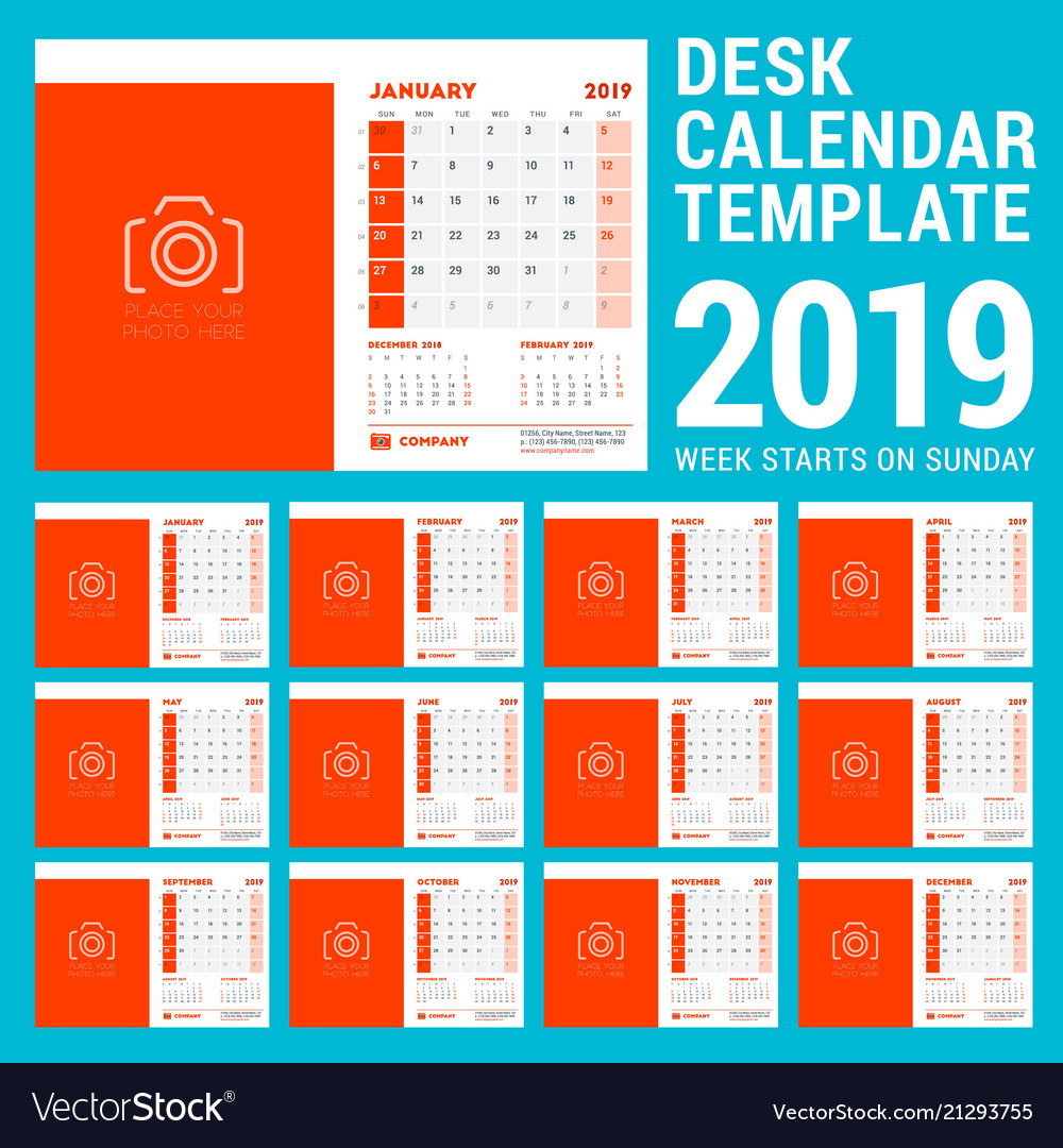 Coloring Desk Calendar 2019 With Design Template For Year Week Vector Image