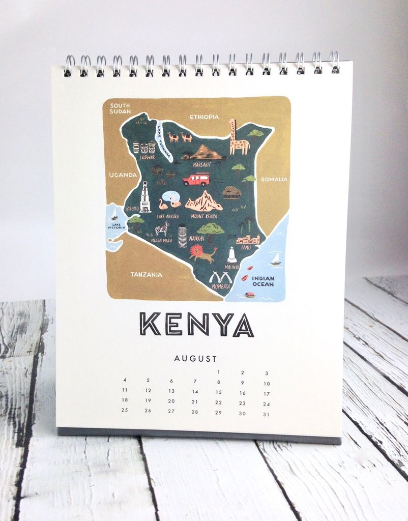 Coloring Desk Calendar 2019 With Maps Of The World Silver In City
