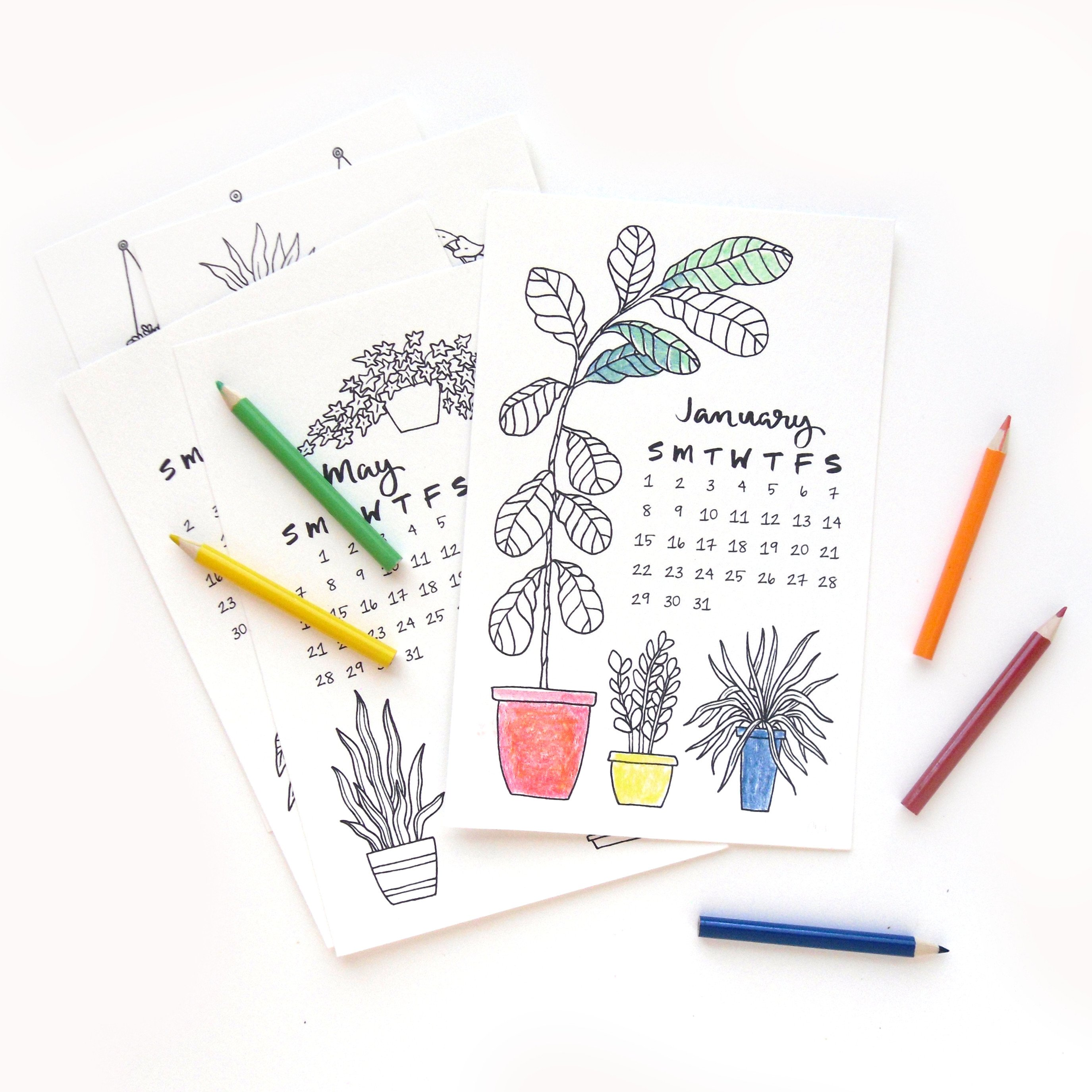 Coloring Desk Calendar 2019 With Sketchy Notions