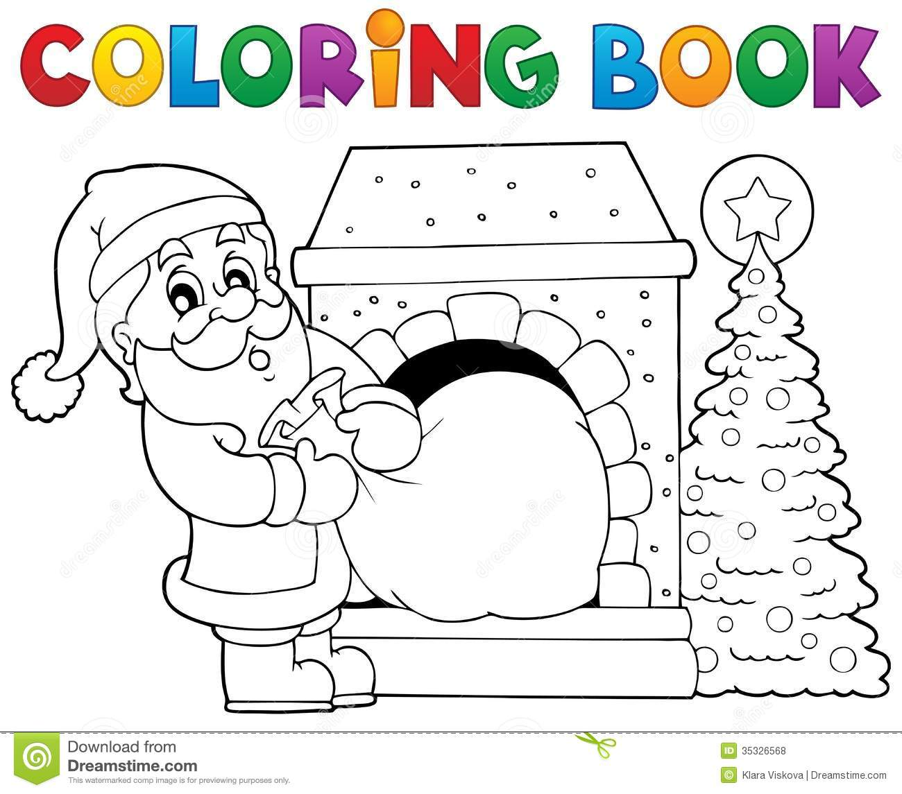 Coloring Of Santa Claus With Book Theme 9 Stock Vector Illustration