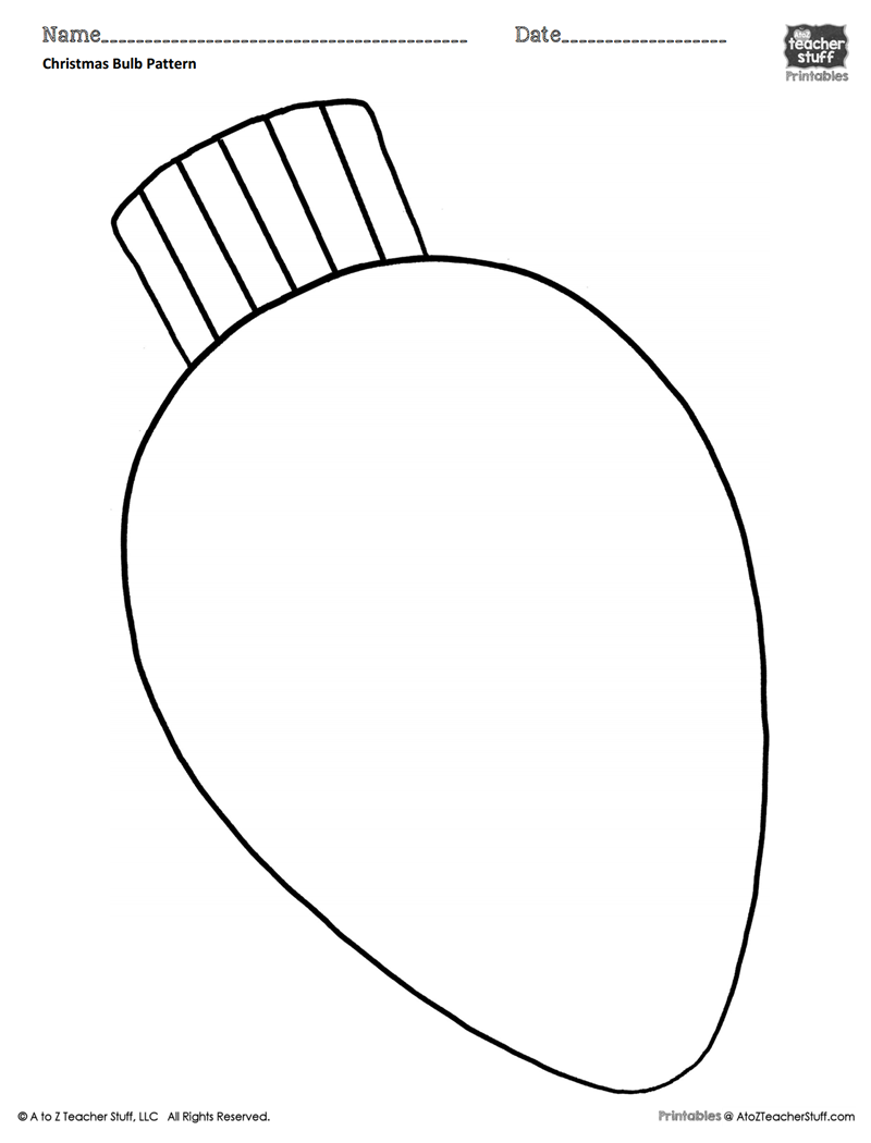 Coloring Pages Christmas Light Bulbs With Bulb Pattern Or Sheet A To Z Teacher