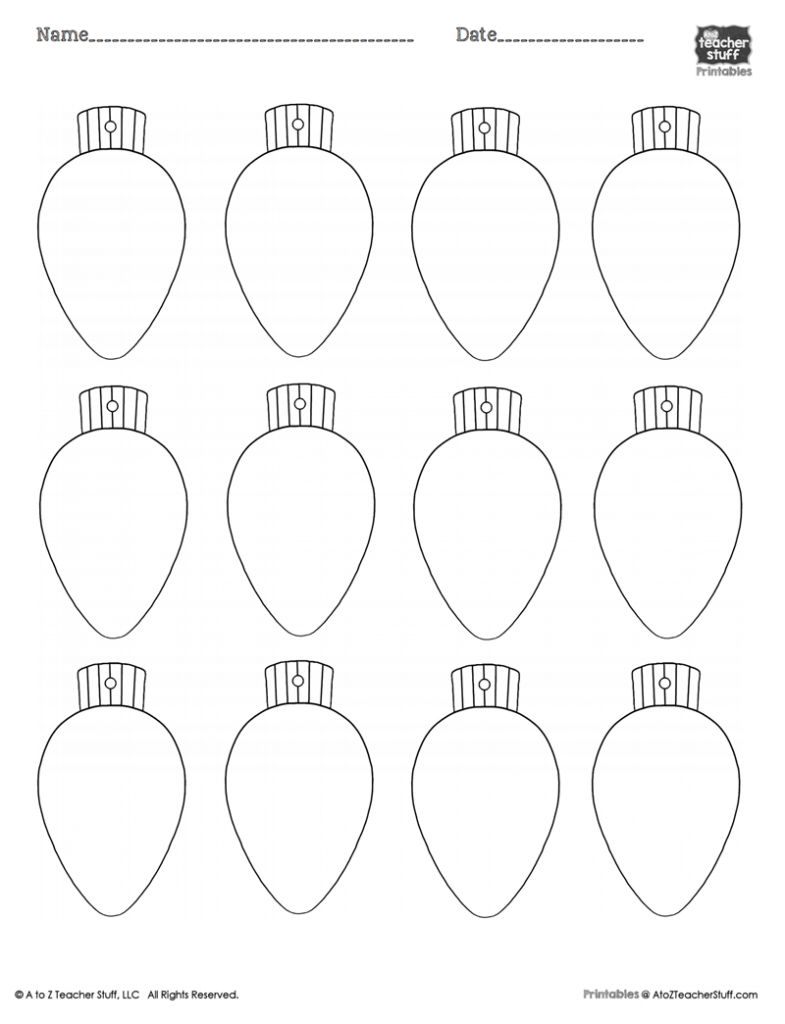 Coloring Pages Christmas Light Bulbs With Bulb Template Page 2019 Throughout
