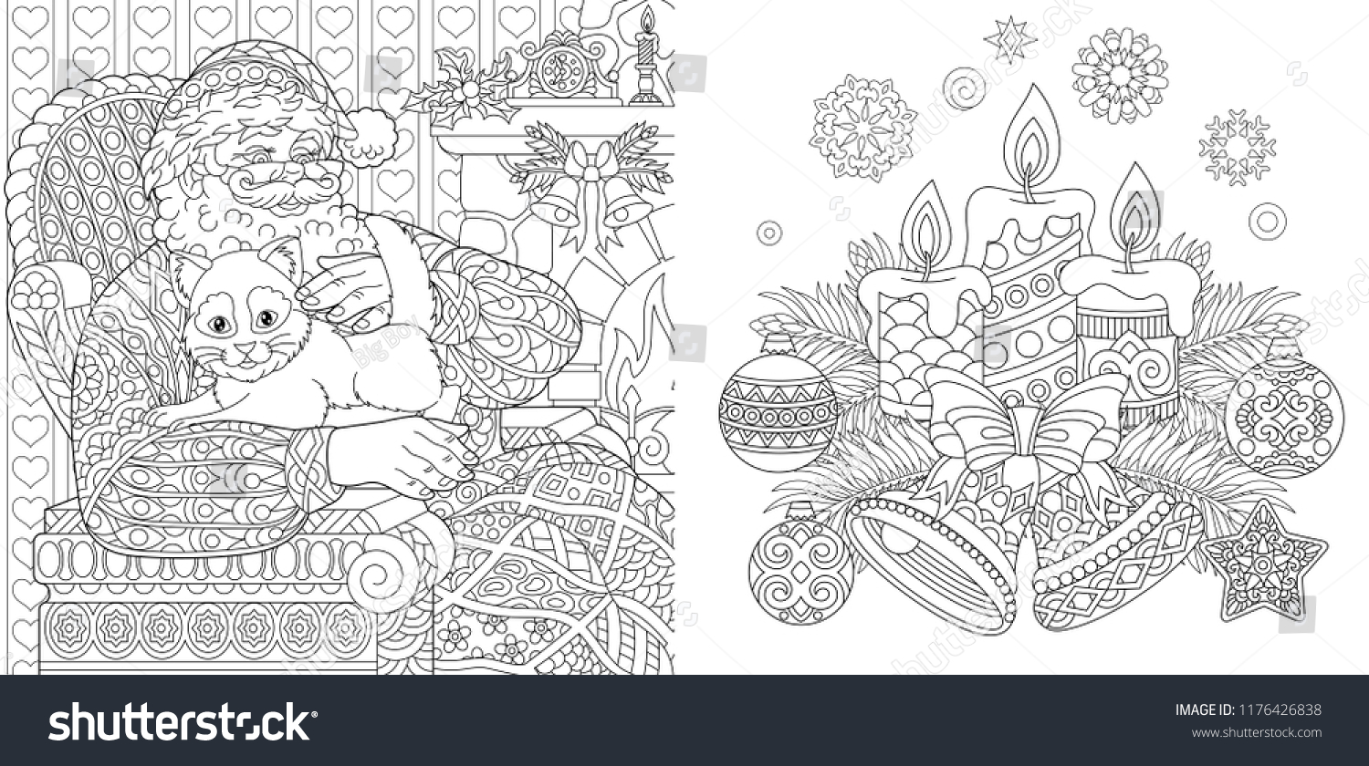 Coloring Pages For Christmas Adults With Colouring Book Stock Vector Royalty