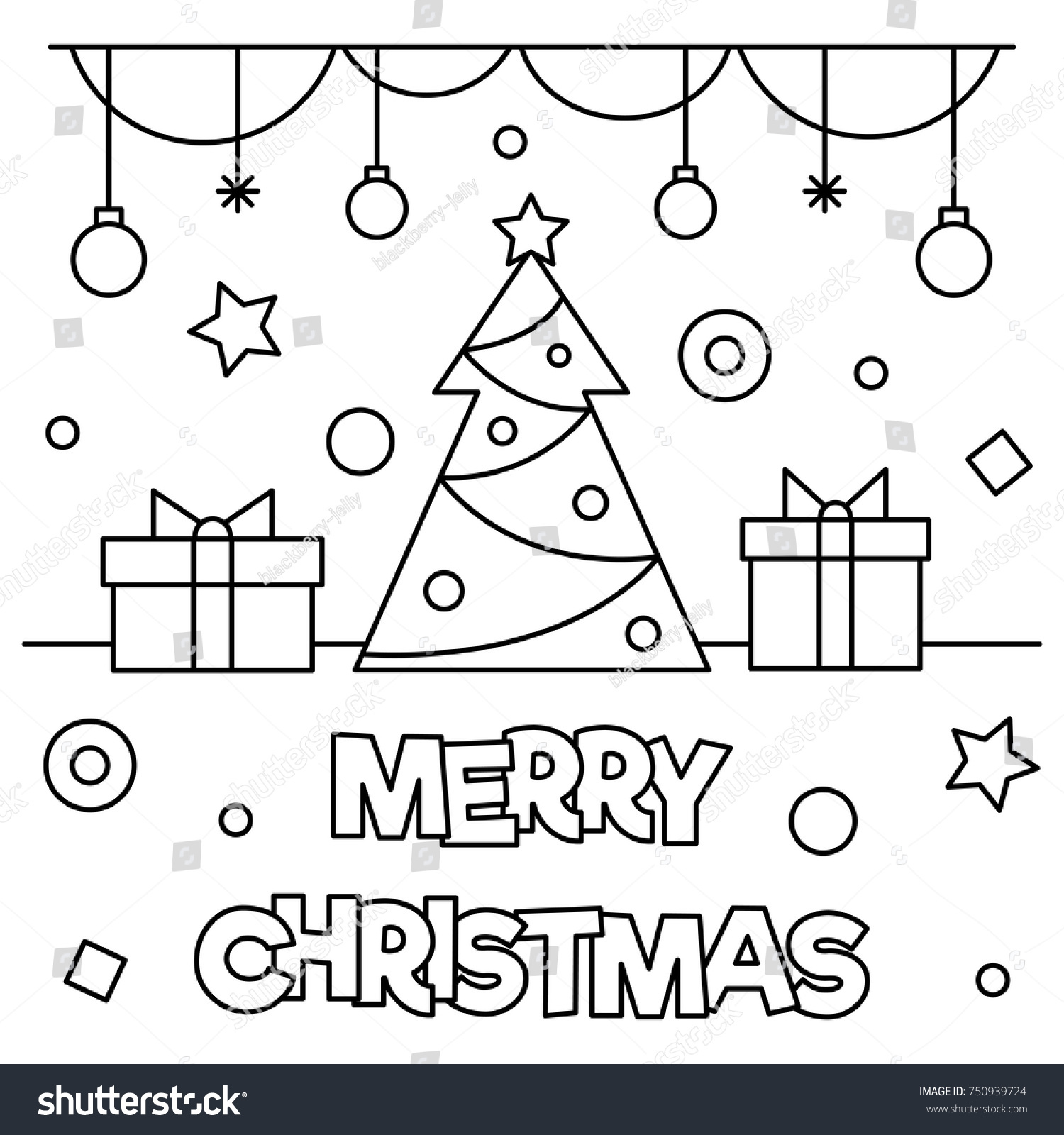 Coloring Pages For Merry Christmas With Page Black White Stock Vector Royalty Free